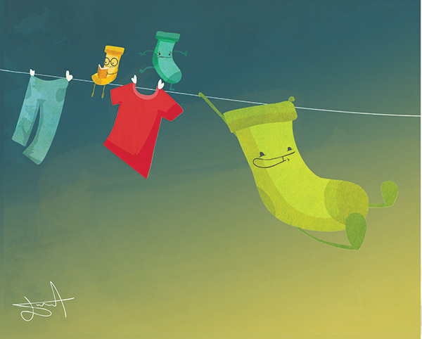 Socks on a clothesline